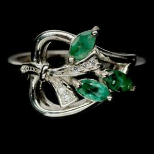 0.69ct Emerald & White Topaz Leaf Ring in 925 Sterling Silver - UK Size M
