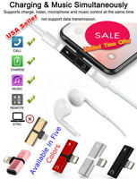 2 in 1 Earphone and Charger Splitter Adapter for iPhone X XS XS Max XR 7/7+ 8/8+