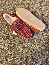 Men's New J Crew Plaid Slippers Slipons lined Tartan 11