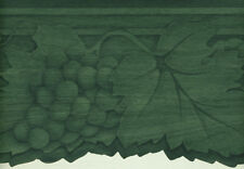 Grapes And Ivy Tone On Tone Green Sculptured Wallpaper Border