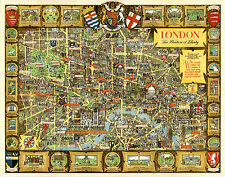 A pictorial map of London - The Bastion of Liberty 1947 Old, Vintage reprint