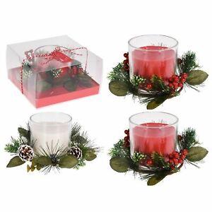 Large Candle Pot Christmas Decoration   Xmas Candle Ornament Table Centrepiece