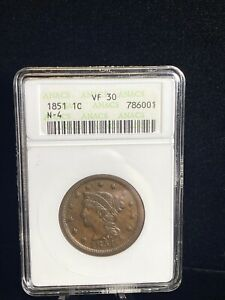 1851 Large One Cent 1C Coin ANACS VF 30