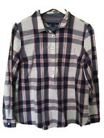Tommy Hilfiger Women's Plaid Print Tunic Top Blouse Shirt Pink Navy Blue L Large