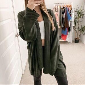 Eskandar Merino Wool Open Front Cardigan Green Women's One Size