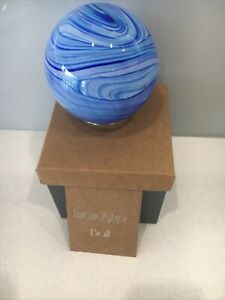 Hand blown Glass Friendship Ball Grandparent  Blue Swirls 121G