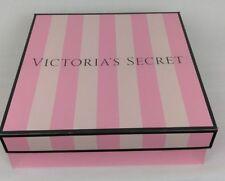 "Victoria's Secret Gift Box Empty Pink Stripe Medium 10"" x 10"" x 3"" New"