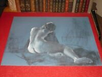 [ André LANDAUD 1924-2013] Naked Female Large Drawing Charcoal-Pastel Blue Paper