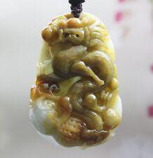 Certified Natural (Grade A) Multi-Color Jadeite Jade Carved Dragon Pendant 生意興隆