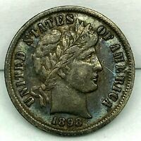 RARE: 1898 ORIGINAL TONED- BARGAIN AU ++ ~ BARBER  DIME COIN.