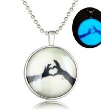GLOW IN THE DARK LOVE HEART LARGE PENDANT NECKLACE / Jewellery Gift Idea