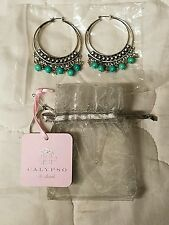 Calypso St. Barth Lovely Sterling Silver Gypsy Hoop Earrings New with Tag