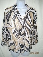 Alfred Dunner-Chiffon Button Down Top-Attached Beaded Tank-Tan/Blk Abstract-8P