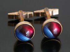 Rare Vtg Kreisler Craft Blue & Red Jeweled Cufflinks Cabochon Stone Gold Tone