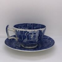 Spode Blue White Made in England Italian Tea Cup & Saucer