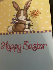 """Easter Card  - With Cute Cartoon Bunny holding daffodil and """"Happy Easter"""""""
