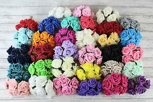 15 Bunches Colourfast 90 Flowers Foam Roses Bouquet Wedding Artificial 5.5 cm