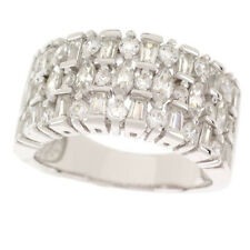 EPIPHANY Platinum Diamonique 1.65 CT Multi-Stone Wide Band Ring Sz 10 $96