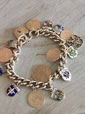 Vintage Sterling Silver Charm Heart Locket Bracelet 53g 15 Charms Silver 925 800
