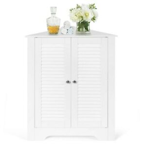 Modern Side Cabinet Cupboard White Small Sideboard Unit Corner Hallway Storage