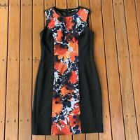 Jane Lamerton Size 12 Shift Dress Black Orange Floral Full Back Zip Lined
