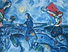 Lovers Over Paris, Limited Edition Offset Lithograph, Marc Chagall