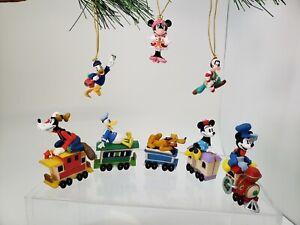 Lot of 8 Disney Christmas Miniature Train Mickey Minnie Goofy Pluto Donald