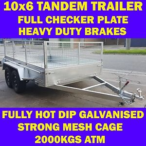 10x6 galvanised tandem trailer with cage box trailer