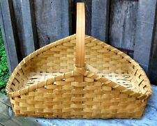 LARGE VINTAGE HANDMADE SPLINT OAK COTTON & EGG GATHERING HOME & GARDEN BASKET