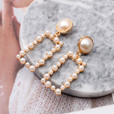 Statement Drop Earrings Dangle Gift Fashion Women Hollow Pearl Crystal Geometric