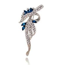 Elegante Argento e inchiostro Blu con Fiocco Bouquet da Sposa Spilla Pin br208