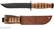 KA-BAR #1218 U.S.M.C. COMBO EDGE FIGHTING UTILITY KNIFE w/ EMBOSSED SHEATH