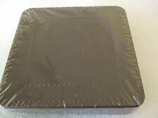 NEW TU CHOCOLATE BROWN FAUX LEATHER COASTER SET OF 4