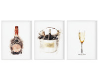 Set of 3 Champagne Poster,Kitchen Print Wall Art,Alcohol Bar,Home Decor Sign