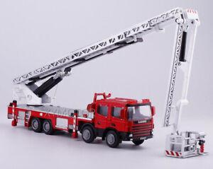 1/50 360° Platform Fire Engine Telescopic Ladder Alloy Diecast Model Car Truck