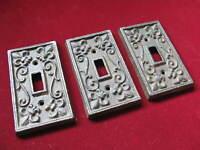 Victorian Fleur de Lis Eastlake Set 3 Heavy Cast Iron Light Switch Wall Plates