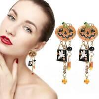 1 Pair Halloween Pumpkin Ghost Ear Stud Dangle Drop Earrings Party Jewelry Gift