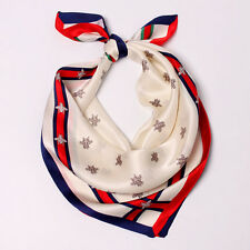 "100% Silk Kerchiefs Women's White Fashion Print Small Square Neck Scarf 21""*21"""