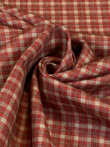 "Nomex Twill Fabric Red Plaid 7 oz Aramid 63""W Canvas Soft Flame Retardant FR"