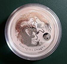 AUSTRALIAN DRAGON 2012 1 OZ 999 pure SILVER COIN in air-tite with Lion Privy