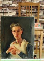 älteres Ölgemälde Portrait junger blonder Mann mit Ring und Pollunder akademisch