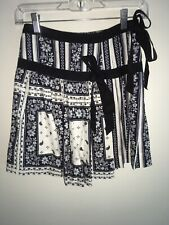 NWT Cinq A Sept Amory Skirt 100% Silk Navy and Ivory Size 00 Ribbon Ties Bows