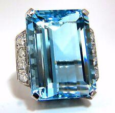 "GIA Certified 40.14ct Natural ""Blue"" Aquamarine diamonds ring 18kt Vivid"