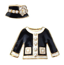Jacket Hat Set with 2 Brooches Retro Ella Jonte Brooch Black Gold White Costume