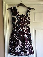 LIPSY LADIES PURPLE BLACK WHITE BLUE MINI DRESS SIZE 8