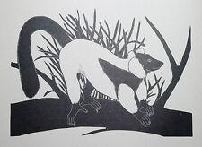 RUFFED LEMUR : B&W Art Deco Wild Animal Print of a 1920s Wood-cut By DAGLISH