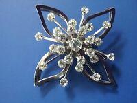 Vintage Starburst Clear Rhinestone & Silvertone Brooch Pin 25 Stones