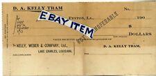 1907 D. A. KELLY TRAM Fenton Louisiana SIGHT DRAFT BANK CHECK Lake Charles WEBER