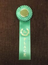 green 5th Place Rosette Ribbon 3x9 gold center fifth