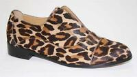 Women's Shoes Cynthia Rowley PREP Slip On Flats Loafer Leopard Haircalf